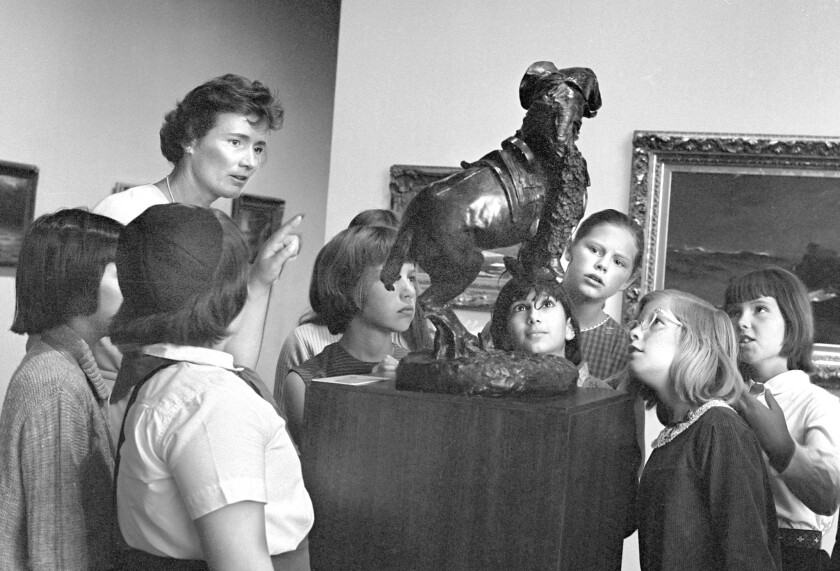 Camilla Chandler Frost gives a docent tour in October 1966.