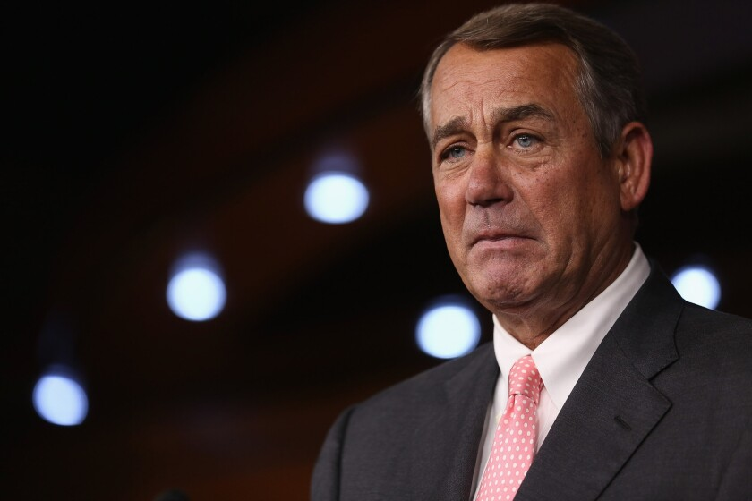 House Speaker John A. Boehner of Ohio tearfully announces that he is stepping down from his post and retiring from the House at the end of October.