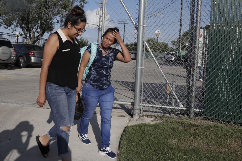 SAN BENITO, TEXAS, TUESDAY, JULY 10, 2018 - Claudia Munoz, left, Grassroots Leadership Immigration