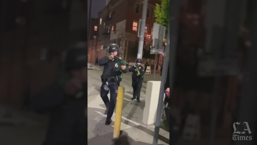 Officer with projectile