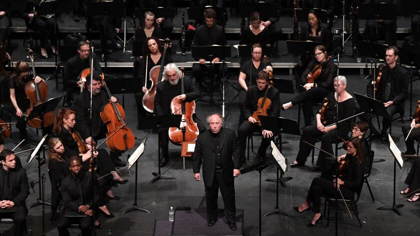 Los Angeles Chamber Orchestra Music Director Jeffery Kahane introducing Beethoven's Ninth Symphony at UCLA's Royce Hall on Saturday night.