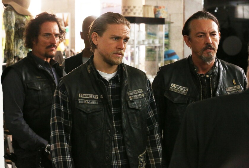 "Kim Coates as Tig Trager, left, Charlie Hunnam as Jax Teller and Tommy Flanagan as Chibs Telford in ""Sons of Anarchy."""