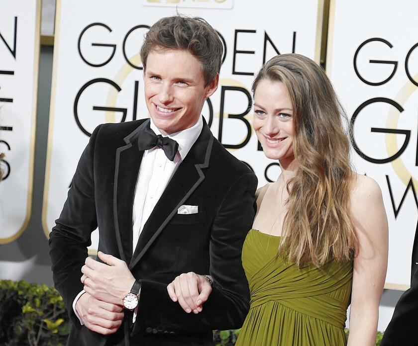 Eddie Redmayne, with wife Hannah Bagshawe, at the Golden Globes