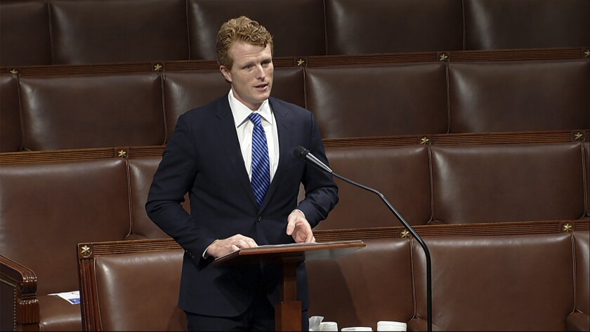 In this image from video, retiring Rep. Joe Kennedy III, D-Mass., speaks on the floor of the U.S. House Wednesday, Dec. 9, 2020, on Capitol Hill in Washington. (House Television via AP)