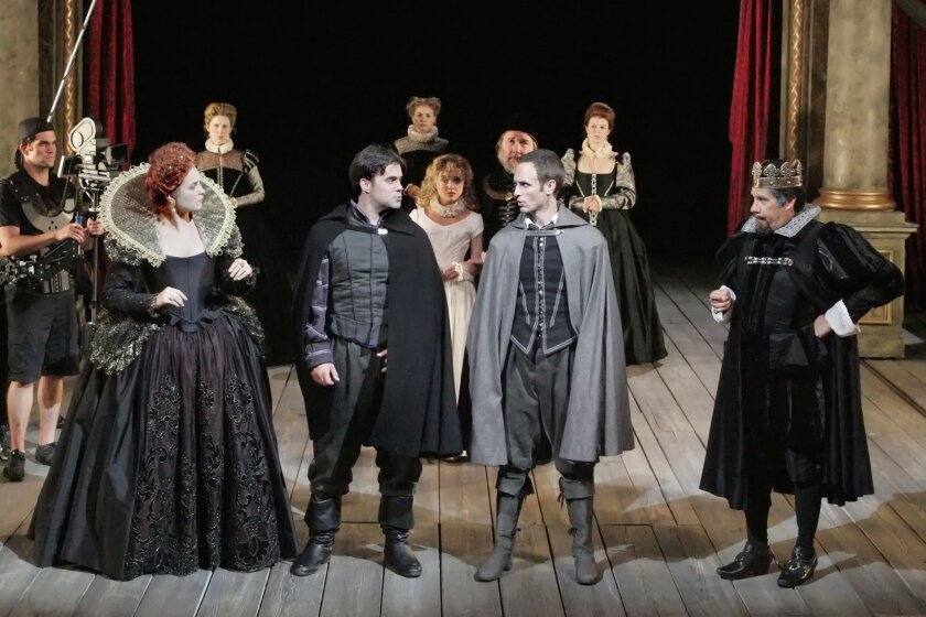 """Ryman Sneed, John Lavelle, Jay Whittaker and Triney Sandoval (left to right in foreground) and the cast of the Old Globe's Shakespeare Festival production of """"Rosencrantz and Guildenstern Are Dead."""""""