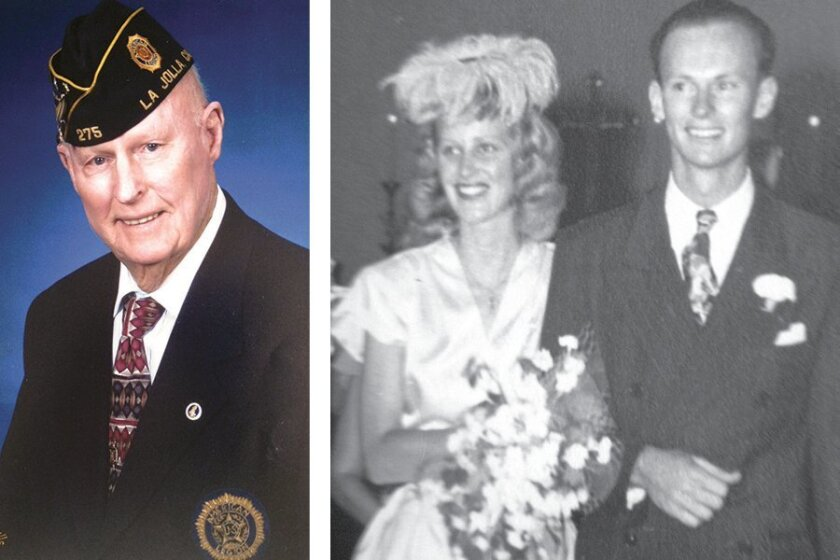 La Jolla resident Carl Dustin, and with his wife June on their wedding day in 1946