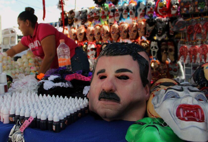 "View of a latex mask depicting Mexican drug trafficker Joaquin ""El Chapo"" Guzman in Ciudad Juarez, Mexico on October 25, 2016."
