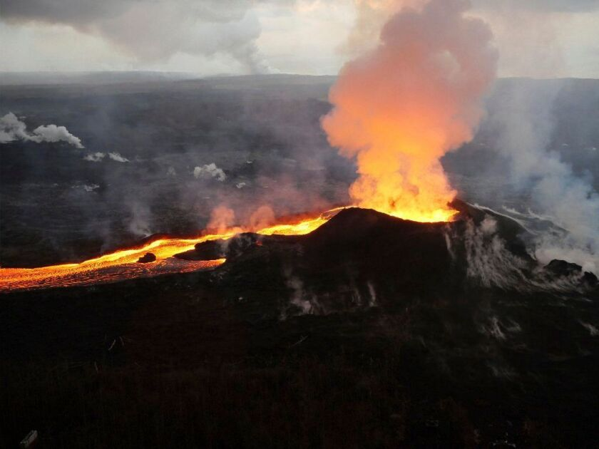 Lava from Kilauea volcano erupts in the Leilani Estates neighborhood near Pahoa, Hawaii. It's considered the most dangerous volcano in the U.S.