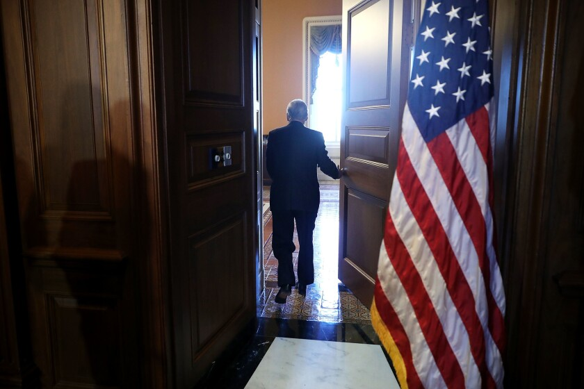 BESTPIX Senate Majority Leader Mitch McConnell Leads Event On Capitol Hill Touting GOP Tax Plan's Benefits For Small Businesses