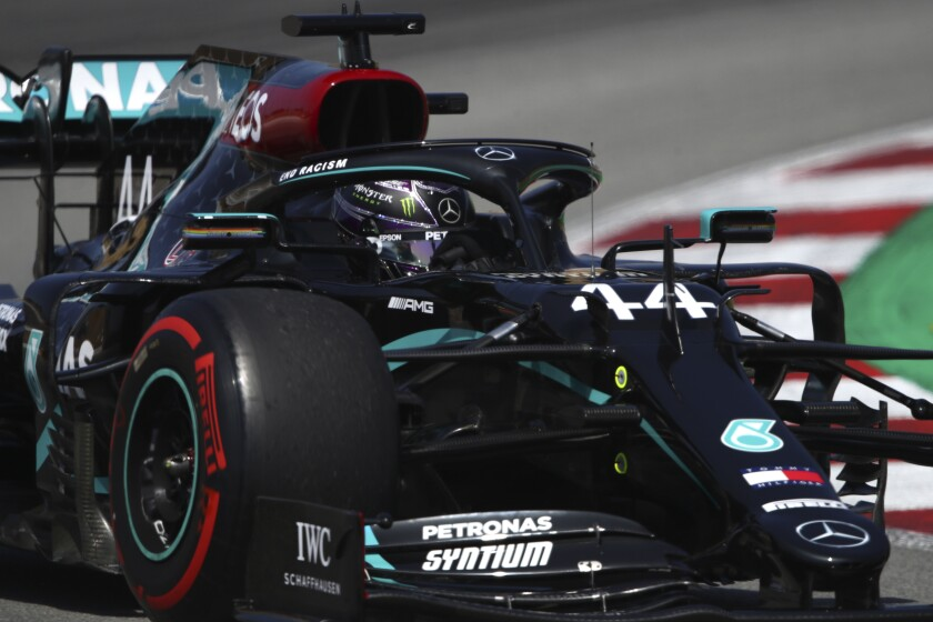 Mercedes driver Lewis Hamilton of Britain steers his car during a practice session prior to the Formula One Grand Prix at the Barcelona Catalunya racetrack in Montmelo, Spain, Saturday, Aug. 15, 2020. (Bryn Lennon, Pool via AP)