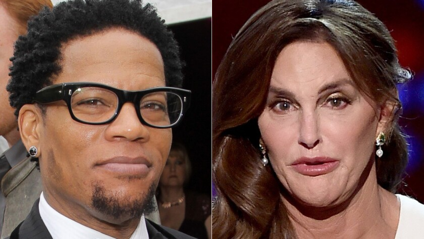 "D.L. Hughley, left, says Arthur Ashe and Caitlyn Jenner, right, ""have very little in common."""