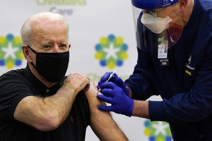 President-elect Joe Biden receives his second dose of the COVID-19 vaccine in Newark, Del., on Monday.