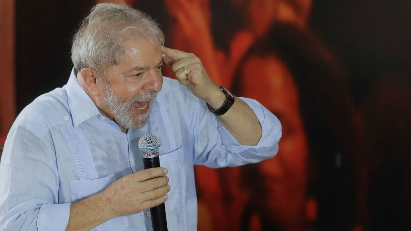 Former Brazilian President Luiz Inacio Lula da Silva addresses executive members of the Workers' Party in Sao Paulo on Jan. 25, 2018.