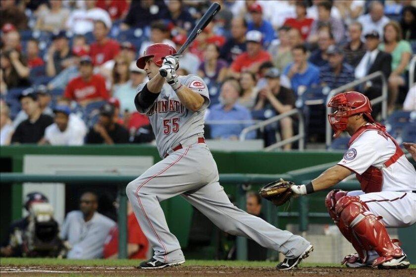 Ramón Hernández, receptor de los Dodgers de Los Ángeles, conectó su primer jonrón de la temporada. En la imagen el registro de otra muestra del poder ofensivo del venezolano Hernández en la MLB. EFE/Archivo