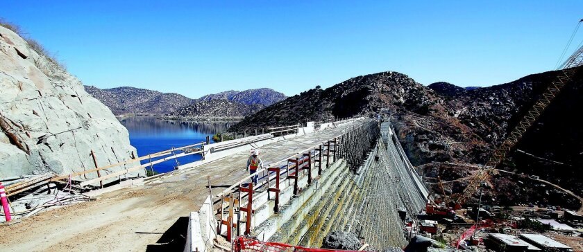 The reservoir behind San Vicente Dam will take two to five years to fill after the raising is finished, topping off sometime between 2014 and 2017. John Gastaldo • u-t