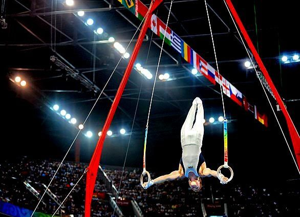 U.S. gymnast Jonathan Horton competes on the rings during the men's individual all-around finals.