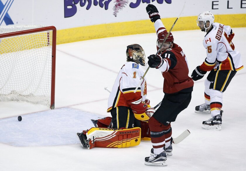Arizona Coyotes' Martin Hanzal (11), of the Czech Republic, celebrates a goal by  teammate Oliver Ekman-Larsson (not shown) against Calgary Flames' Jonas Hiller (1), of Switzerland, as Flames' Mark Giordano (5) looks on during the second period of an NHL hockey game Friday, Feb. 12, 2016, in Glenda