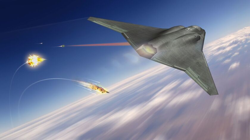 A rendering of a laser countermeasure system spearheaded by the Air Force Research Laboratory. In August, Northrop Grumman Corp. won a contract to develop its beam control system.