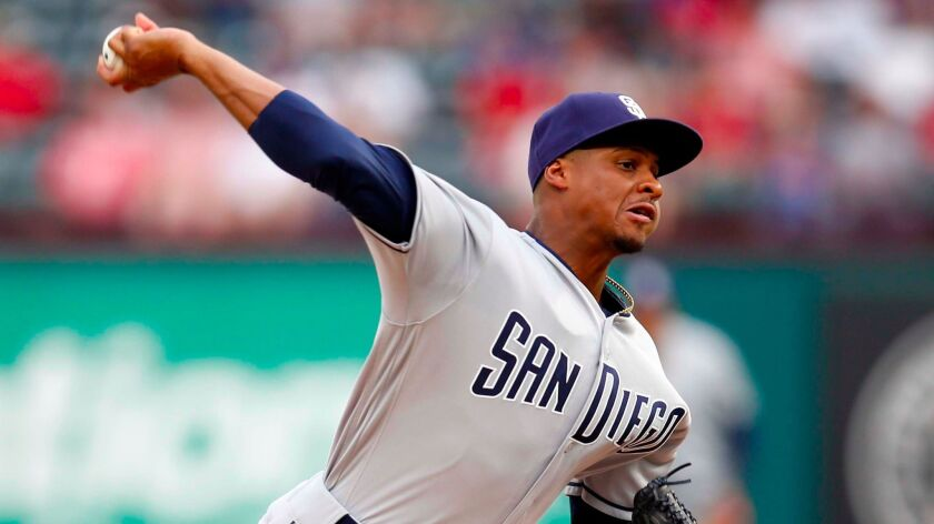 May 10, 2017; Arlington, TX, USA; San Diego Padres starting pitcher Luis Perdomo delivers a pitch to