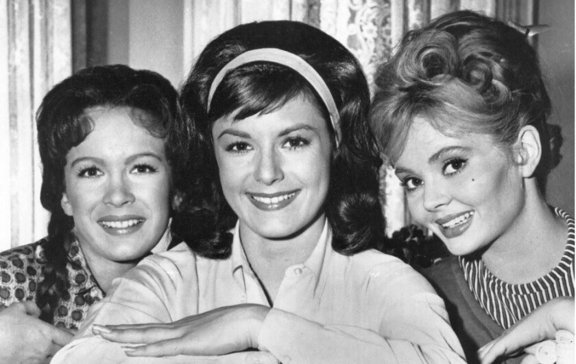 """Actress Pat Woodell, center, with Linda Kaye Henning, left, and Jeannine Riley in the hit 1960s sitcom """"Petticoat Junction."""""""