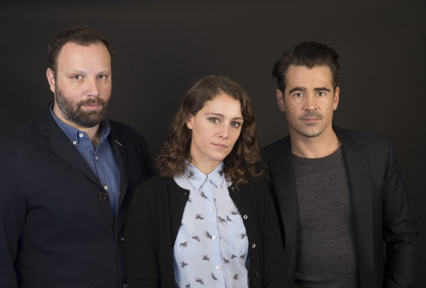 """The Lobster"" director Yorgos Lanthimos, left, with actors Ariane Labed and"