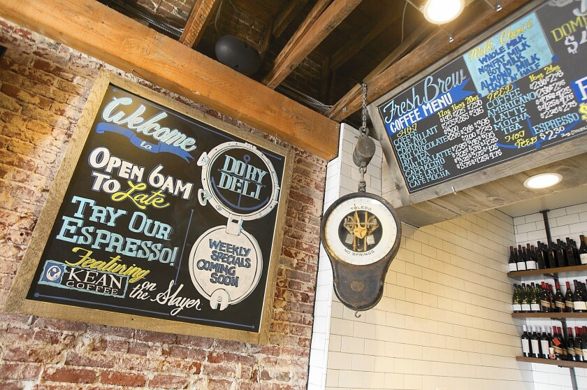 The decor in the new Dory Deli includes an old-style fish market look.