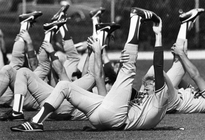 March 1, 1987: Dodgers pitcher Jerry Reuss and teammates stretch during training in Vero Beach, Fla.