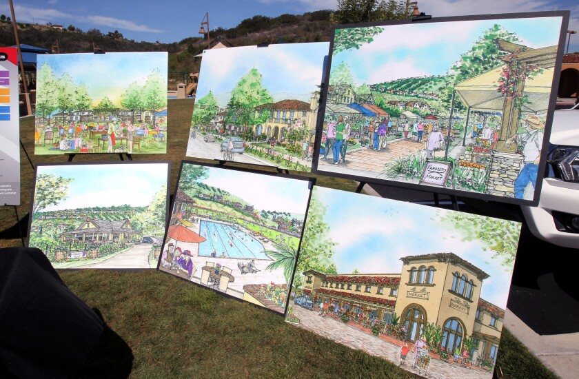 A social media campaign in 2016 defeated a developer-initiated measure seeking to build Lilac Hills Ranch, shown in artist renderings, in Valley Center.