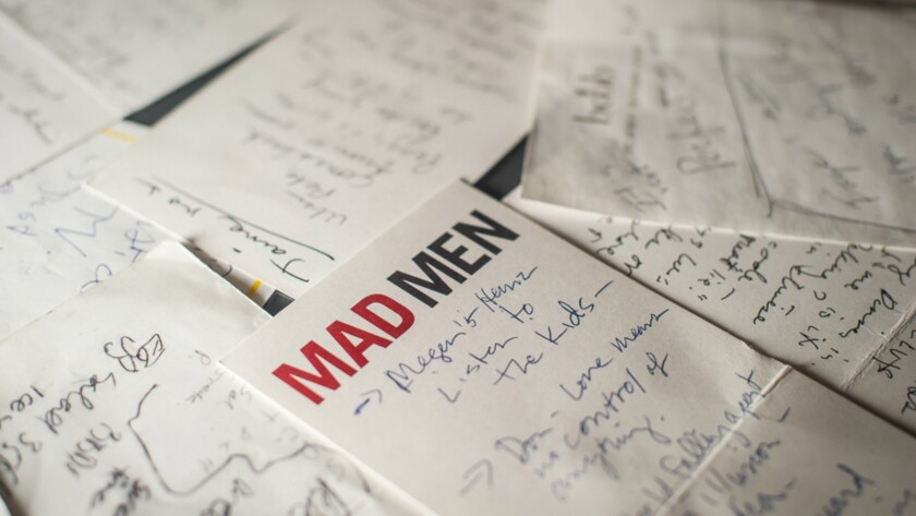 Notes for story lines and characters for Mad Men, written by Matthew Weiner, 2006-2013.