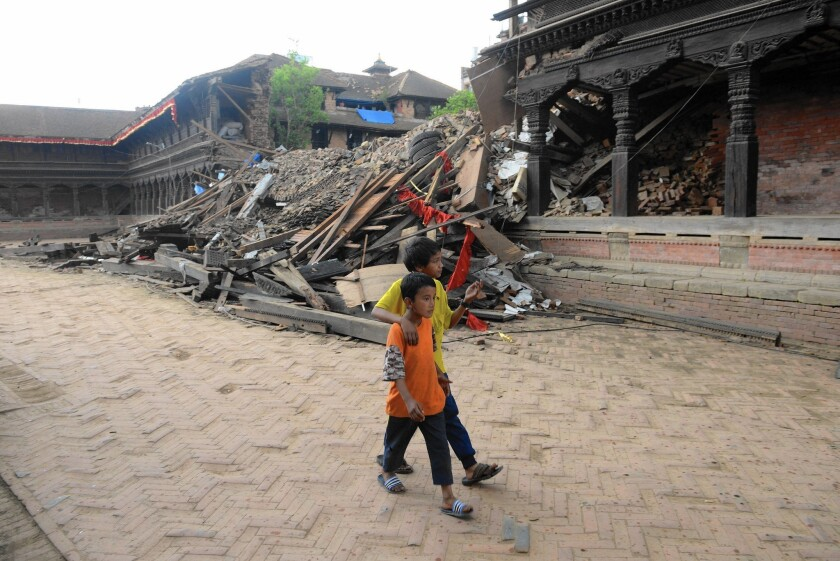 The ruins of Bhaktapur Durbar Square, a UNESCO World Heritage site on the outskirts of Katmandu, Nepal, two days after the 7.8 quake.