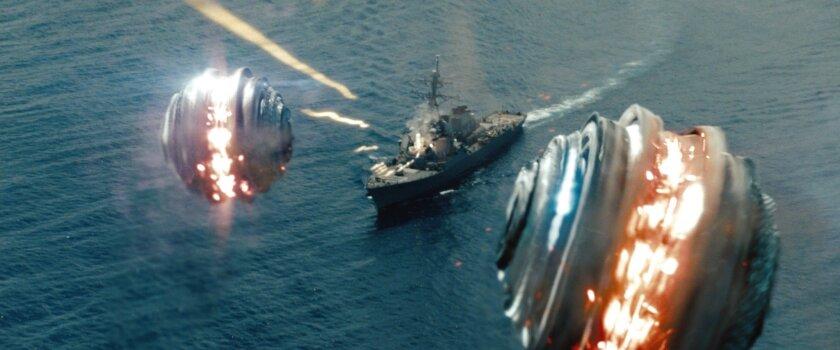 """Alien """"shredders"""" race to destroy a U.S. Navy vessel in the movie """"Battleship."""""""