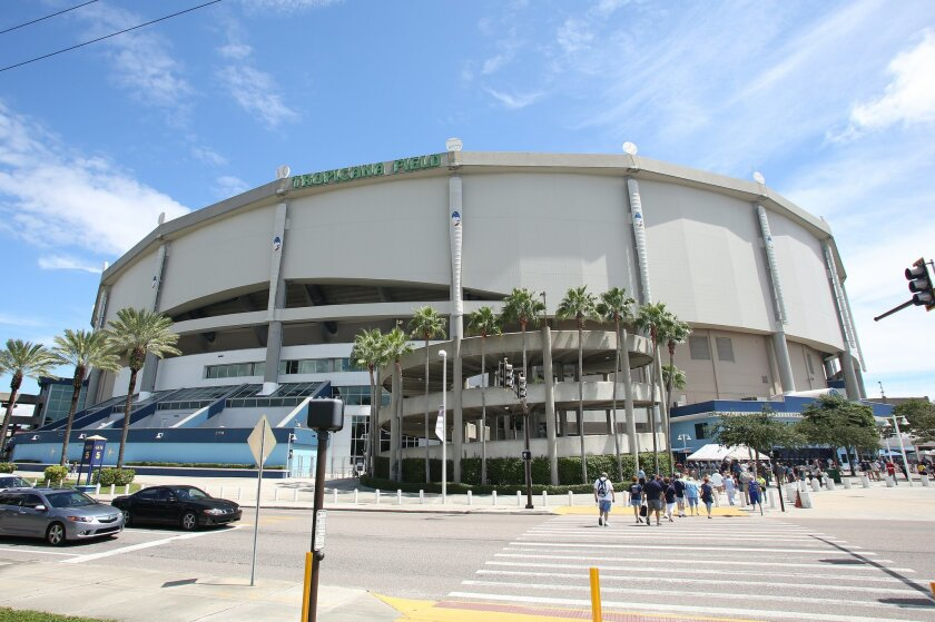 FILE - This is a Sept. 21, 2014, file photo showing Tropicana Field,  before a baseball game between the Chicago White Sox and Tampa Bay Rays, in St. Petersburg, Fla. The Rays have reached a deal with St. Petersburg that would allow the team to search for new stadium sites on both sides of Tampa Ba
