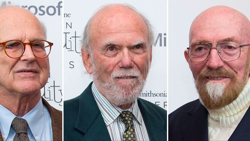 From left, Rainer Weiss, Barry Barish and Kip Thorne, who won the Nobel Prize in physics Prize 2017 for gravitational waves.