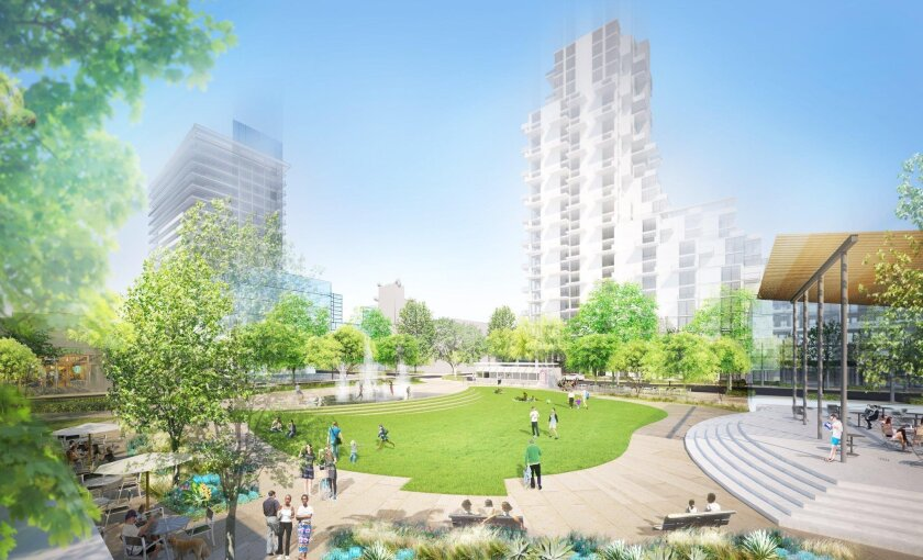 Uptown Gateway Council proposes a park or plaza over underground parking and two highrise towers.