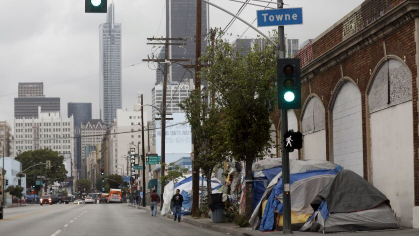 A tent encampment in downtown Los Angeles.