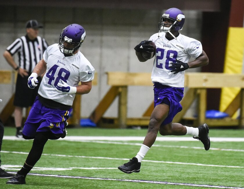 Minnesota Vikings running back Adrian Peterson, right, and Minnesota Vikings fullback Zach Line run thru drills during NFL football practice in Eden Prairie, Minn., Wednesday, May 25, 2016. (AP Photo/Craig Lassig)