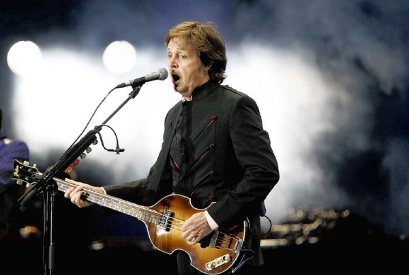 Paul McCartney plays at the Hollywood Bowl during the Up And Coming Tour on March 30.