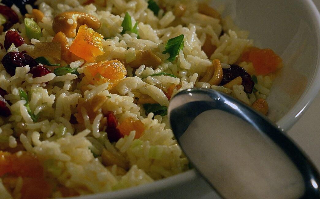 Gingered rice and fruit salad