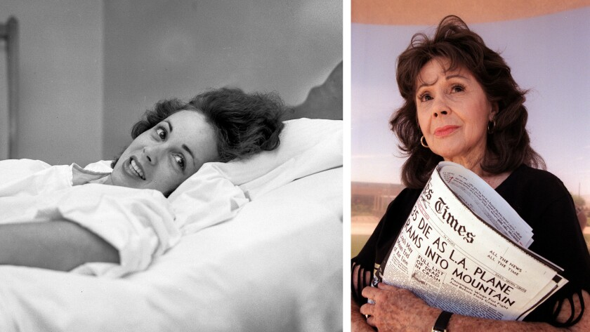 Aug. 2, 1999: Caren Marsh Doll, now 80 years old, holds a copy of the July 13, 1949 Los Angeles Time