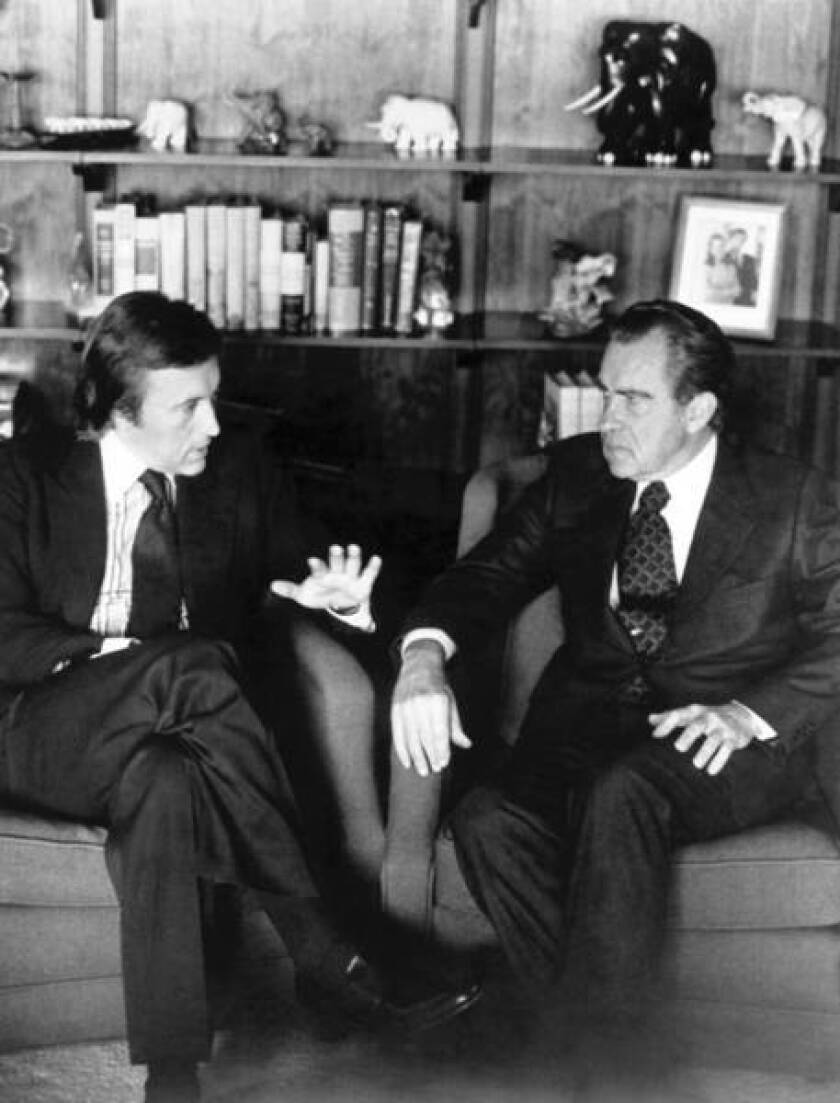 """David Frost, left, interviews former President Nixon in March 1977. The two taped more than 28 hours of interviews at a Dana Point home. The sessions were dramatized in the 2008 film """"Frost/ Nixon."""""""