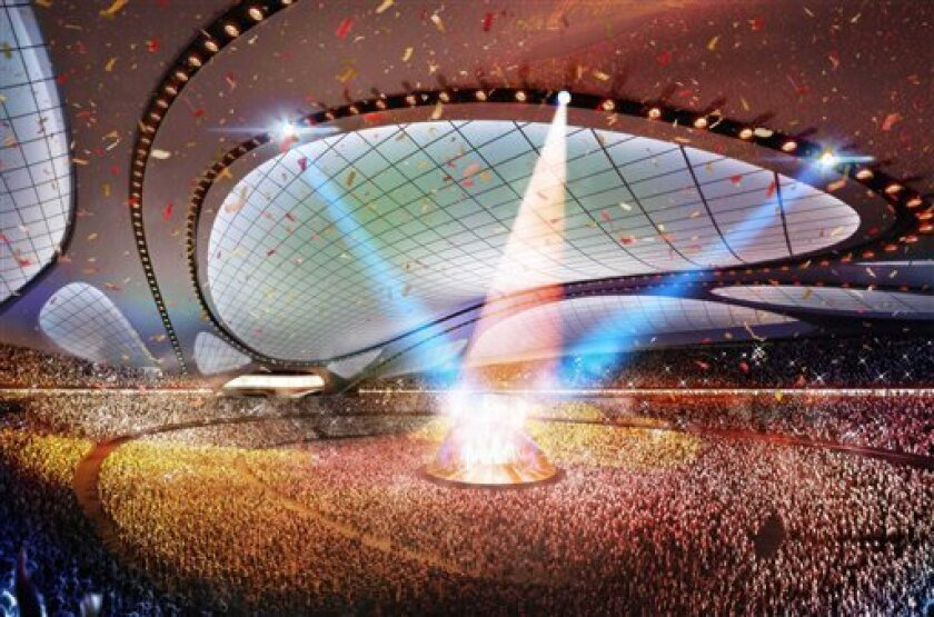 This artist rendering released by Japan Sport Council shows the new National Stadium, the main venue Tokyo plans to build for the 2020 Summer Olympics. The futuristic 80,000-seat main stadium will be the centerpiece, touted by organizers as one of the most advanced in the world. Designed by Zaha Hadid, it will go up on the site of the Olympic Stadium from 1964, the last time Tokyo was host. The Japanese capital, selected Saturday, Sept. 7, 2013 over Istanbul and Madrid to host in 2020, will also