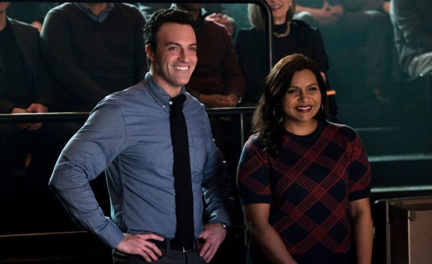 """Reid Scott and Mindy Kaling in """"Late Night."""""""