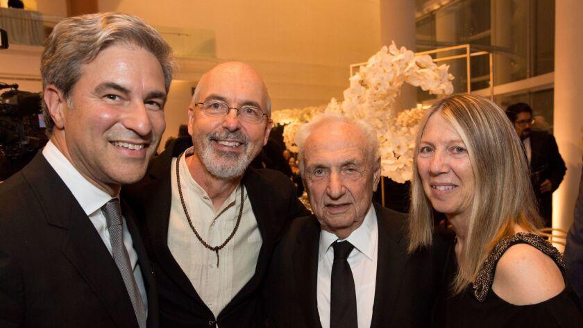 Michael Govan, Bill Viola, Frank Gehry and Kira Perov at the South Coast Plaza Art, Excellence + Fri