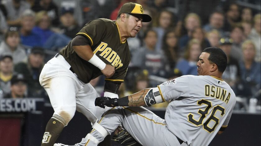 Jose Osuna of the Pittsburgh Pirates is tagged out at third base by Christian Villanueva on June 29.