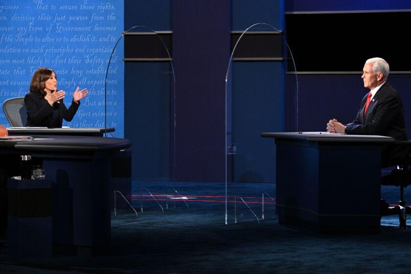 Sen. Kamala Harris gestures toward Vice President Mike Pence during Wednesday's vice presidential debate.