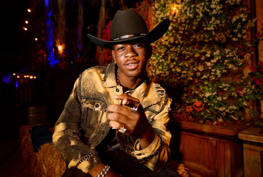 Lil Nas X backstage during the 2019 Stagecoach Festival in Indio.