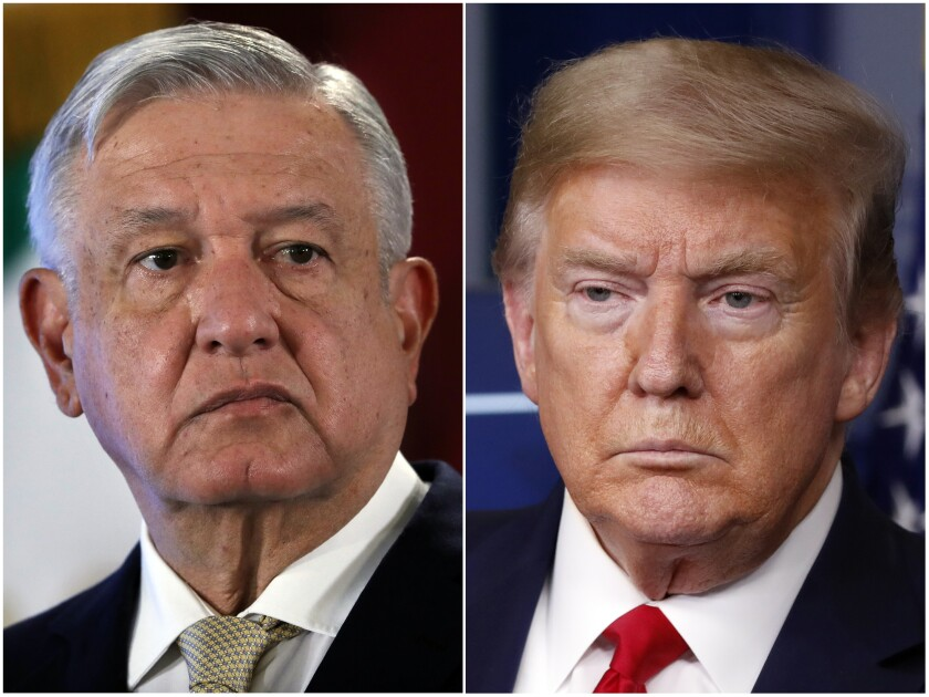 Mexican President Andres Manuel Lopez Obrador, left, and President Donald Trump