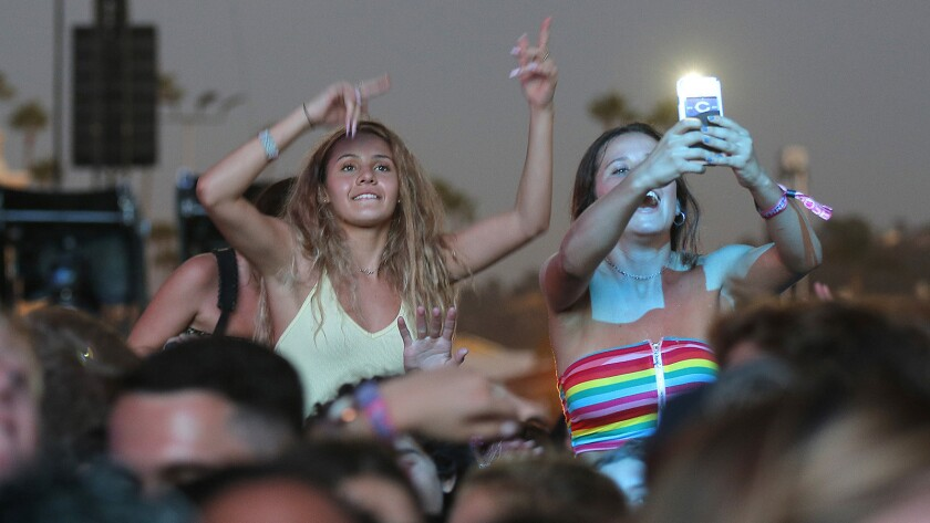 San Diego County is a somewhat popular spot for millennials, said a study from the National Association of Realtors. Pictured: Fans cheer on the band N.E.R.D at KAABOO Del Mar on Saturday, September 15, 2018.
