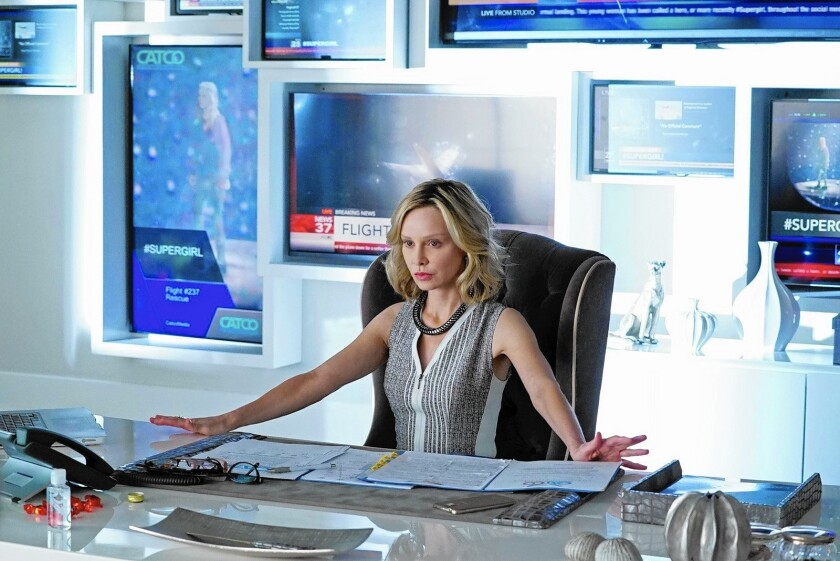 """Calista Flockhart stars in CBS' """"Supergirl,"""" a trailer for which was received warmly by media buyers at a presentation in New York this week. It sets up a superhero battle on Mondays with Fox's young-Batman epic, """"Gotham."""""""