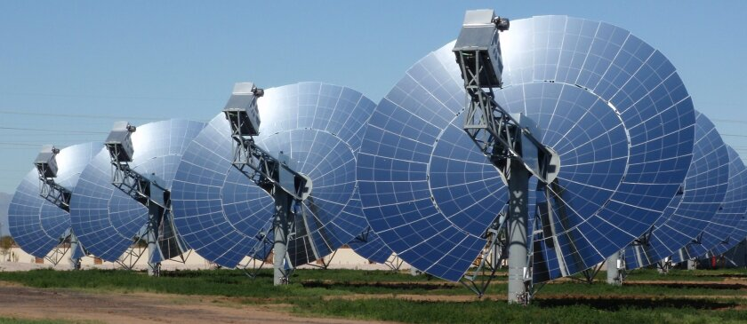 This photo illustration by Tessera Solar shows how the Stirling dishes would look if built.